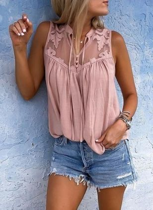 Solid Casual Collar Sleeveless Blouses