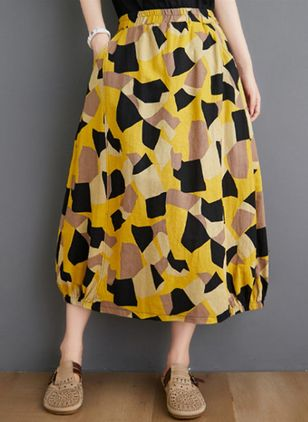 Faldas Informal Midi Amarillo Bloque de color Pattern Bolsillos (4127669)
