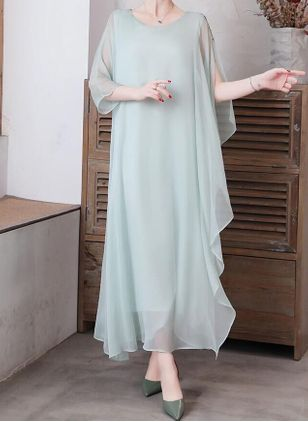 Elegant Solid Tunic Round Neckline Shift Dress (1530088)