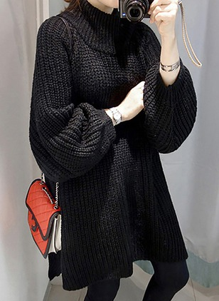 Polyester High Neckline Solid Oversized Others Sweaters