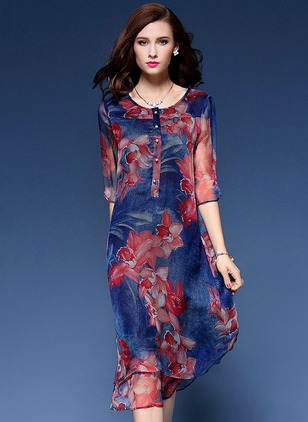 Floral Buttons 3/4 Sleeves Midi A-line Dress
