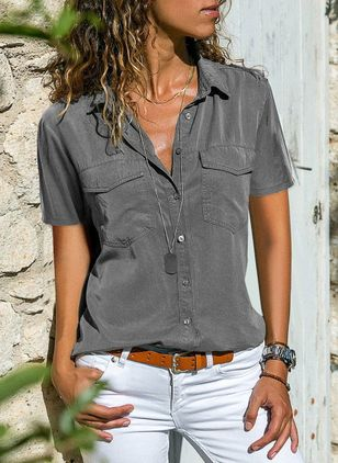 Camicie Casual Manica corta Colletto Monocolore (1300102)