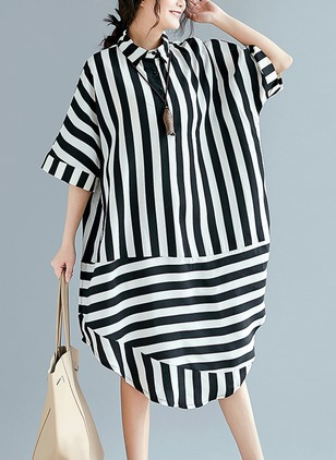 Stripe Shirt Collar Midi Shift Dress