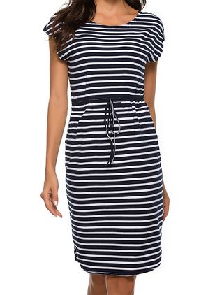 Casual Stripe Skater Round Neckline X-line Dress (100002179)