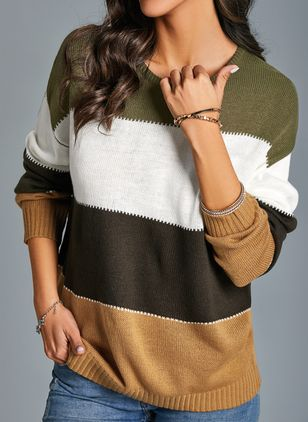 Round Neckline Color Block Casual Short Shift Sweaters (1403886)