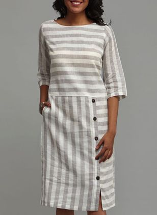 Stripe Buttons Half Sleeve Above Knee Shift Dress