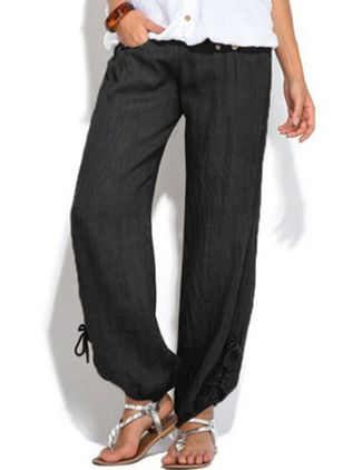 Casual Loose Pockets Mid Waist Cotton Blends Pants (135452658)