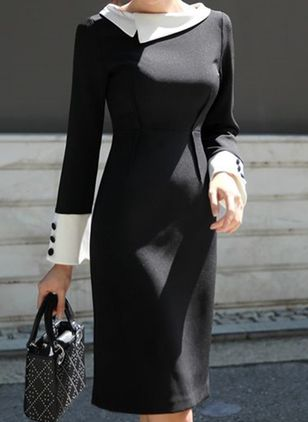 Color Block Buttons Long Sleeve Above Knee Sheath Dress