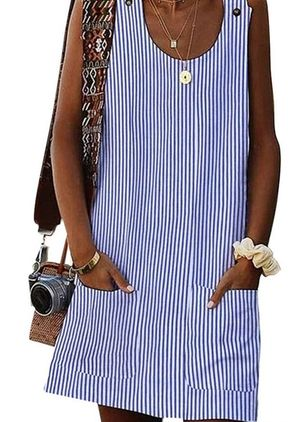 Casual Stripe Tunic Round Neckline Shift Dress (1525367)