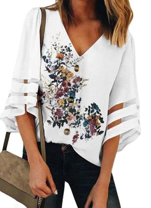Floral Casual V-Neckline 3/4 Sleeves Blouses (1501476)