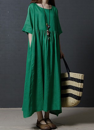 Chinese Casual Solid Round Neckline Maxi Shift Dress (1057799)