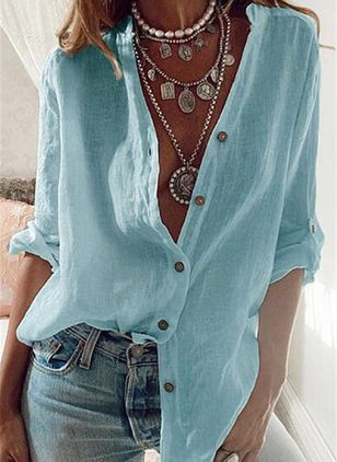 Solid Casual V-Neckline Long Sleeve Blouses (4228672)