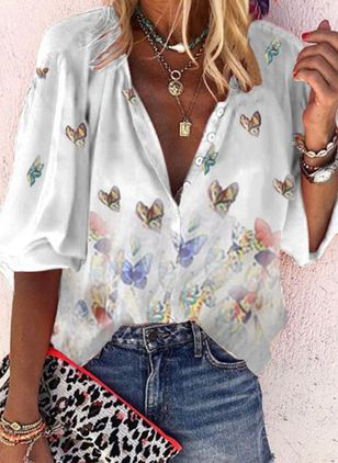 Floral Casual V-Neckline Long Sleeve Blouses (4355824)