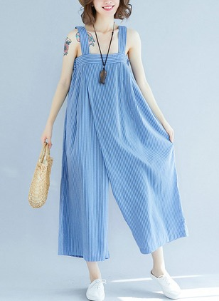 Cotton Stripe Sleeveless Backless Jumpsuits & Rompers