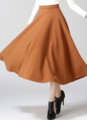 Spandex Solid Maxi Casual None Skirts