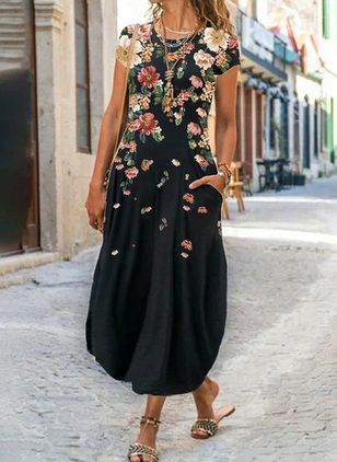 Casual Floral Tunic Round Neckline A-line Dress (147928435)