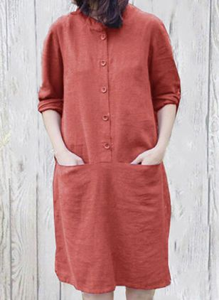 Casual Solid Tunic Round Neckline Shift Dress (100547285)