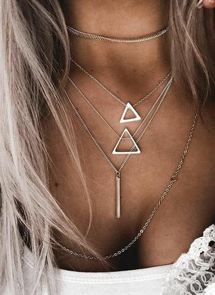 Casual Geometric No Stone Pendant Necklaces (147142412)