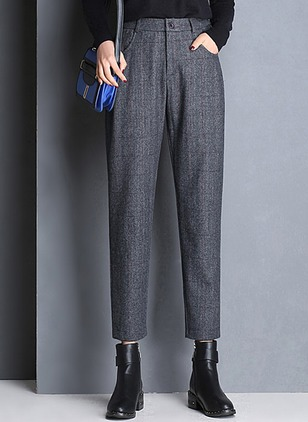 Straight Woolen Trousers Pants & Leggings