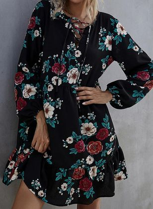 Casual Floral Tunic Round Neckline A-line Dress (146737396)