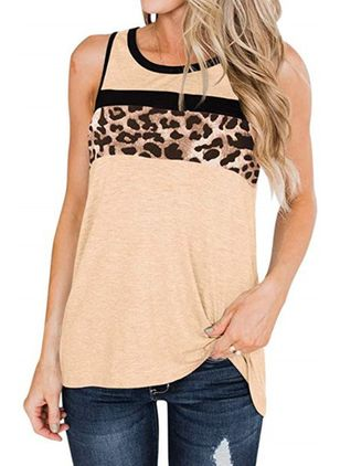 Leopard Round Neck Sleeveless Casual T-shirts (147225570)