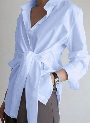 Solid Casual Collar Long Sleeve Blouses (146965931)