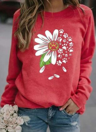 Floral Round Neck Long Sleeve Casual T-shirts (111798636)
