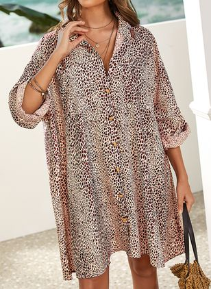 Plus Size Casual Leopard Tunic Above Knee Shift Dress (2200347)