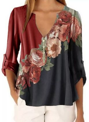 Floral V-Neckline Casual Shift Blouses Long Sleeve Plus Blouses (1523673)