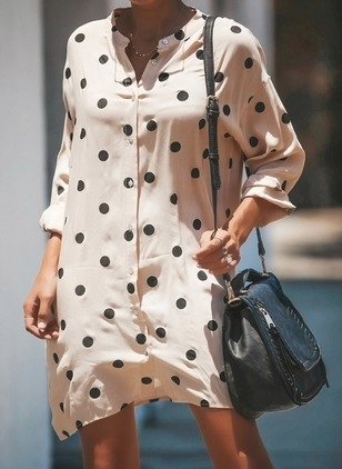 Polka Dot Buttons Shirt Above Knee Shift Dress