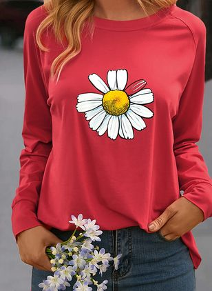 Floral Round Neck Long Sleeve Spring T-shirts (100002365)