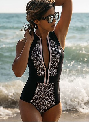 Polyester Halter Zipper Flowers One-piece Swimwear