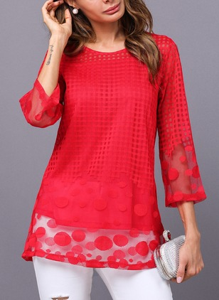 Geometric Casual Polyester Round Neckline 3/4 Sleeves Blouses