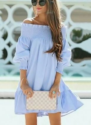 Solid Shirt 3/4 Sleeves Above Knee A-line Dress