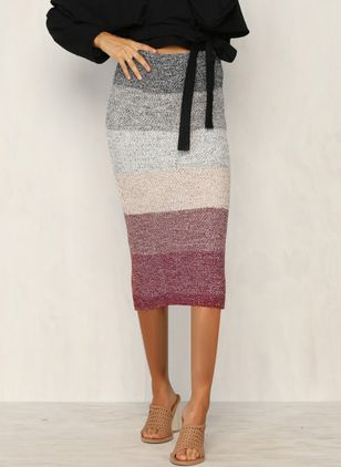 Color Block Mid-Calf Vintage Skirts