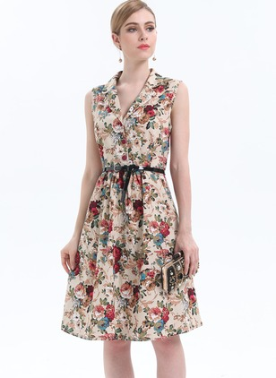 Floral Embroidery Wrap Collar A-line Dress