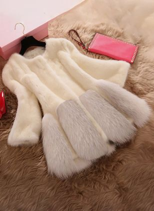 Long Sleeve Round Neck Fur Coats
