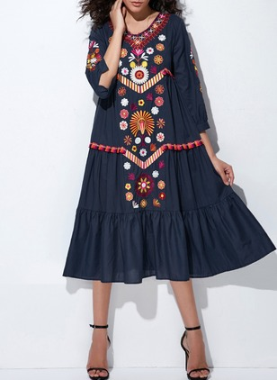 Floral Embroidery 3/4 Sleeves Midi A-line Dress