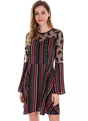 Stripe Appliques Long Sleeve Above Knee A-line Dress