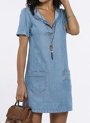 Shift Dress V-Neckline Denim Dress (4457990)
