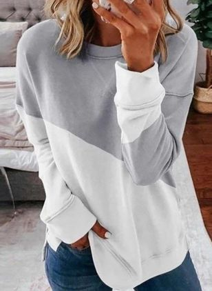 Color Block Casual Round Neckline Long Sleeve Blouses (1532830)
