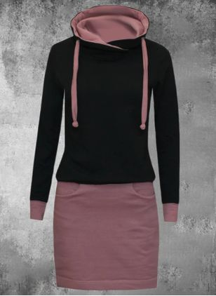 Casual Color Block Pencil Round Neckline Sheath Dress (107520854)