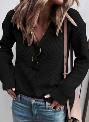 V-Neckline Solid Casual Loose Regular Shift Sweaters (106703799)