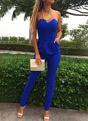 Spandex Solid Sleeveless Backless Jumpsuits & Rompers
