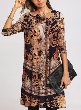 Casual Floral Tunic Round Neckline A-line Dress (111798383)