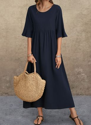 Casual Solid Tunic Round Neckline Shift Dress (1541916)