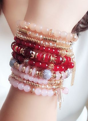 Boho Ball Gemstone Beaded Bracelets (1540409)
