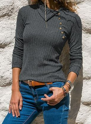 Round Neckline Solid Casual Loose Regular Buttons Sweaters (6047140)