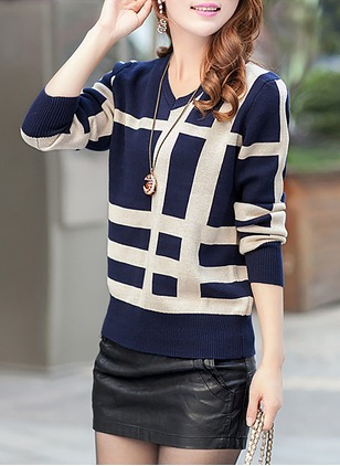 Wool V-Neckline Check Loose None Sweaters