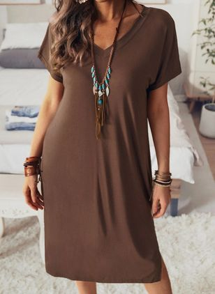 Casual Solid Tunic V-Neckline A-line Dress (146961571)